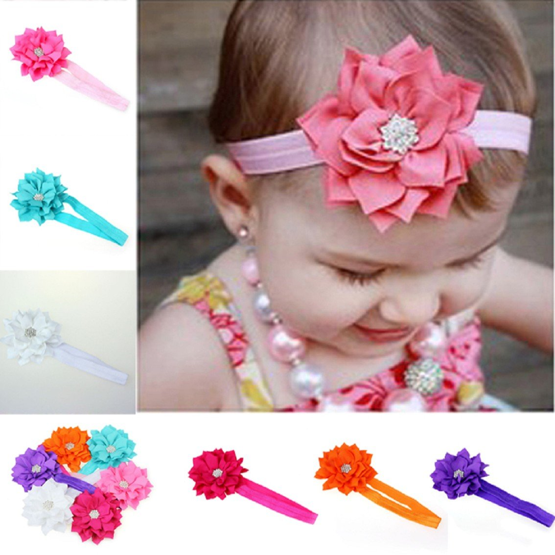 Malloom® 6 Pieces Babys Girls Headband Head Wear Crystal Lotus Flower Hairband Mallom®