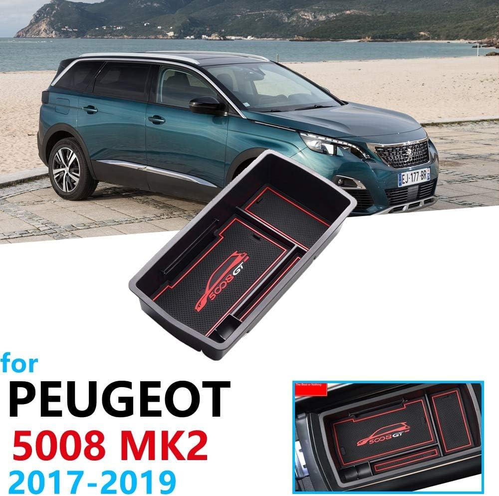 Linfei Accessoires DOrganisateur De Voiture Pour Peugeot 5008 Mk2 2017-2019 Accoudoir Bo/îte De Rangement Rangement Rangement Tapis Pi/èce 5008 Ii 2 Suv 2E
