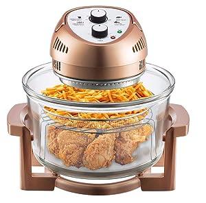 Air Fryer 1300-Watt Oil-Less Air Fryer, 16-Quart - Copper, As Seen on TV With Ebook