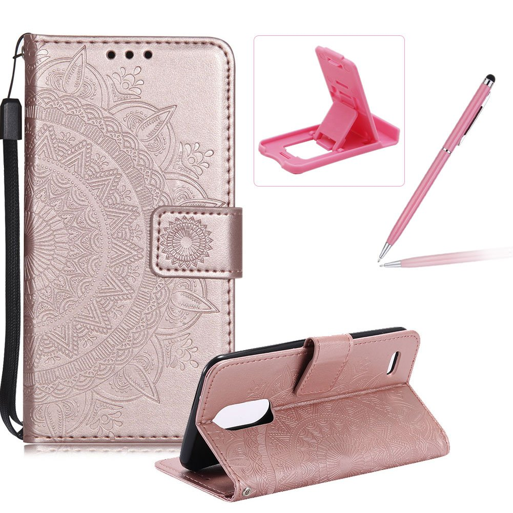 Strap Leather Case for LG G6, Rose Gold Wallet Cover for LG G6, Herzzer Classic Retro Pretty Mandala Flower Embossed Magnetic Closure Stand Shockproof Flip PU Leather Back Case with Soft Silicone