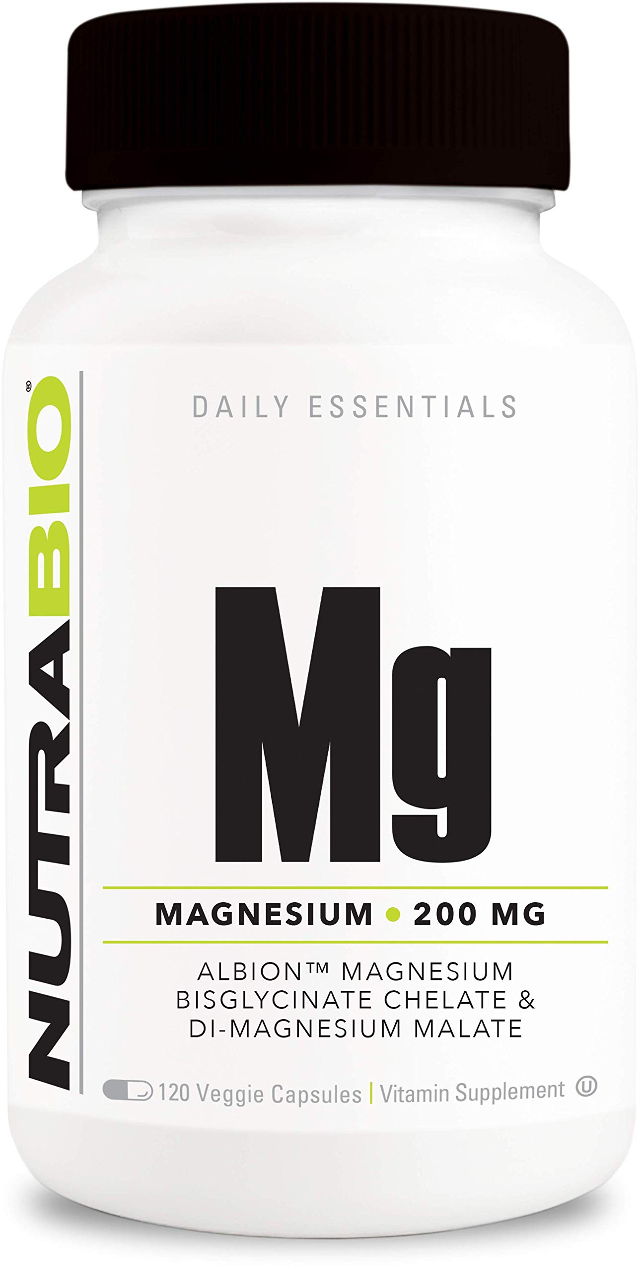 NutraBio Reacted Magnesium Supplement (120 Vegetable Capsules, 200mg per Serving)