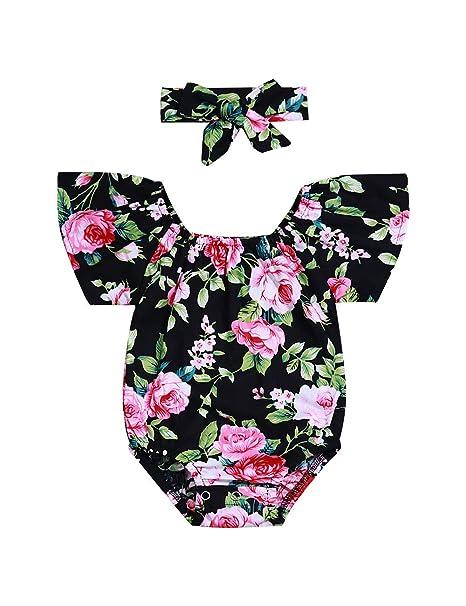 Amazon.com: Bebé recién nacido Niñas Ropa de Verano Trajes ...