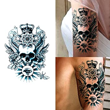 a0c7bf5ea Amazon.com : Deardeer Temporary Tattoos Sticker for Men Women Couple - Fake  Skull Traditional Design Fashion Body Art Sticker Waterproof (Skull with  Crown) ...