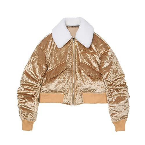 Lana de los corderos de invierno retro gold chaqueta corta es Down Jacket hembra