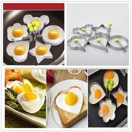 5 moldes para huevos de acero inoxidable. También sirven para tortitas y tortillas