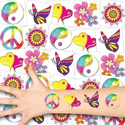 German Trendseller® - 36x Hippie Tatuajes - Conjunto de los 70 - De Lujo┃Peace┃Paz┃6X Conjunto Tatuaje Flower Power: Juguetes y juegos