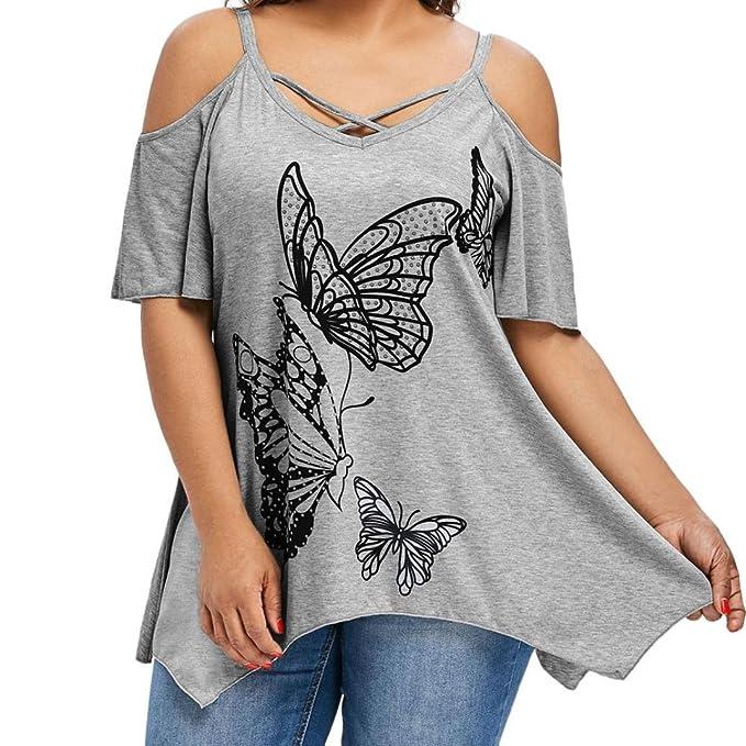 ASHOP Camisetas Muje, Camisetas Manga Corta Tallas Grandes EN Oferta Suelto Tops Blusas de Mujer Elegantes de Fiesta Impresión de Mariposas T-Shirt Moda ...