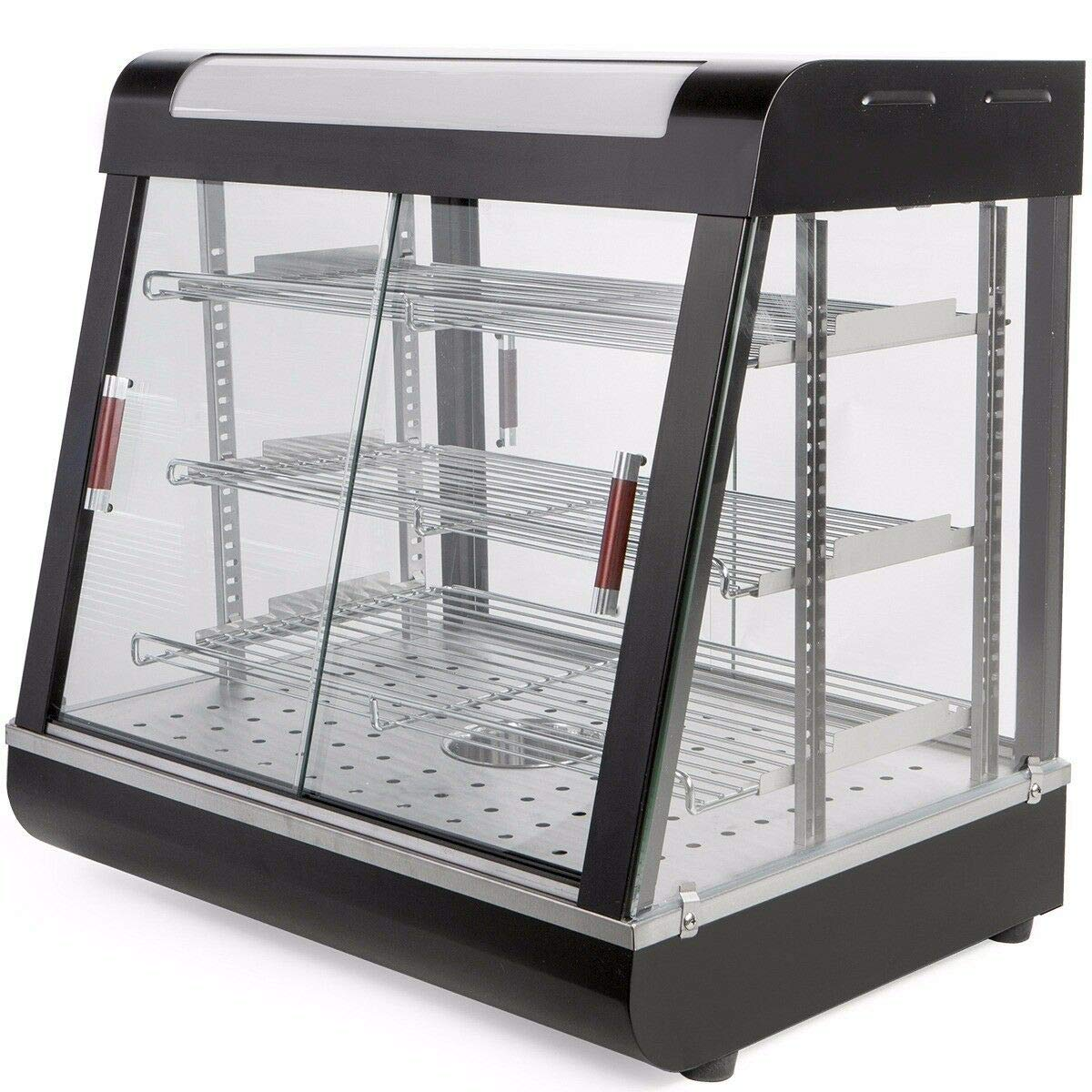 """Ensue Commercial Countertop Food Warmer Restaurant Display Case 48"""" Heated Cabinet Pizza Pastry Cabinet Hotdog, Black"""