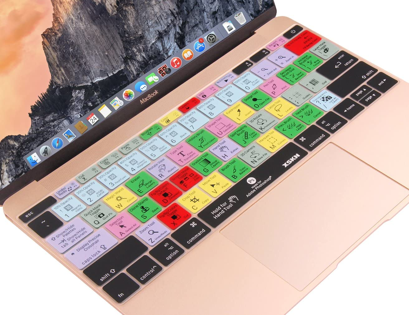 2016 Newest Version Model A1708, No Touch Bar Photoshop XSKN/2016 Shortcut/Design/Series/Keyboard/Skin/Cover for/New MacBook 12 2015 Model A1534 and New MacBook Pro 13 ,/US Version