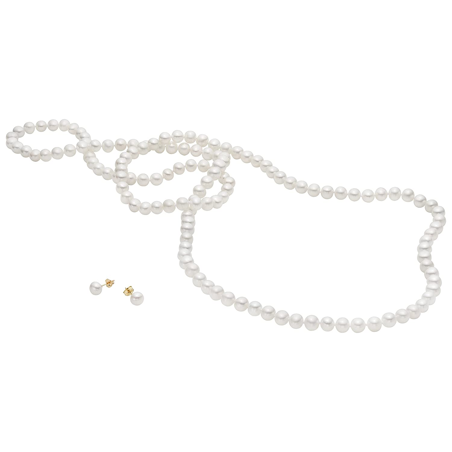 """14k Yellow Gold Cultured Freshwater Pearl Necklace 36"""" with Earrings Set (6.5-7mm)"""