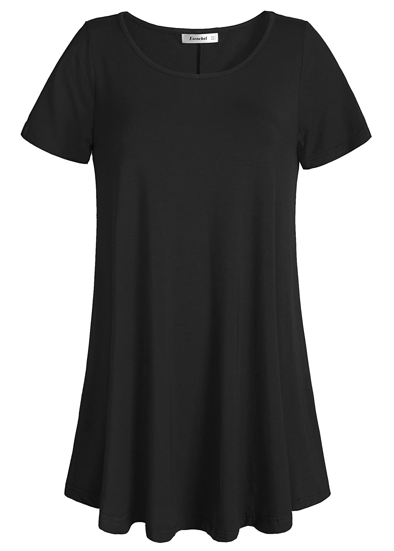 Black Esenchel Women's Tunic Top Casual T Shirt for Leggings