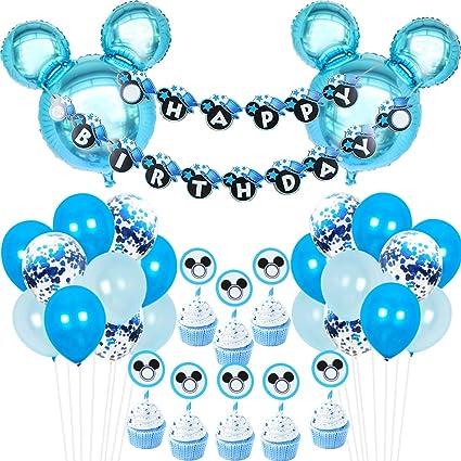 Amazon.com: Decoración para fiesta de Mickey Mouse azul ...