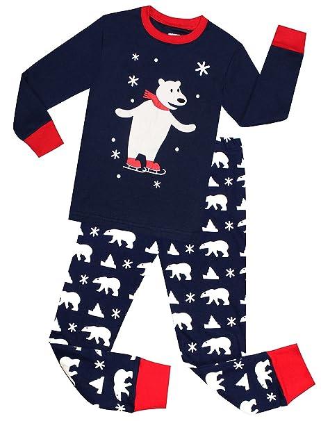 boys christmas pajamas 100 cotton little and big kids pjs set toddler sleepwear blue