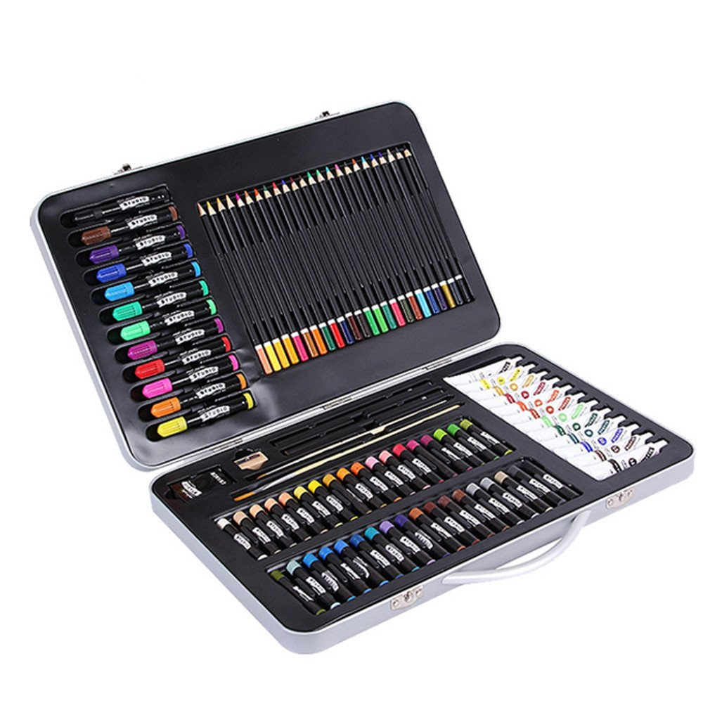 Artist art drawing set, 90 Pieces Of High-class Art Set, Safe Art Supplies, For Painting And Painting, A Must-have Art Kit For Portable Aluminum Casings, Including Oil Pastels, Colored Pencils, Art Br by JIANGXIUQIN (Image #1)