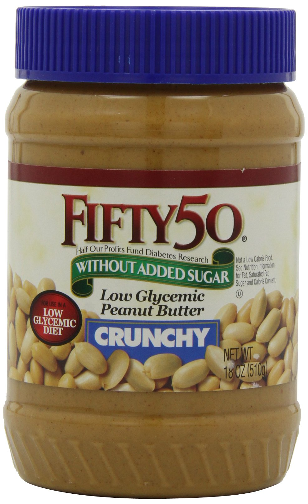 Fifty-50 Peanut Butter Crunchy, With Out Added Sugar  18-Ounce Units (Pack of 6)