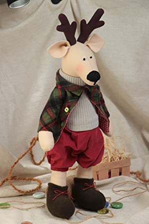 Juguete de peluche de tela de algodon y forro polar artesanal ciervo