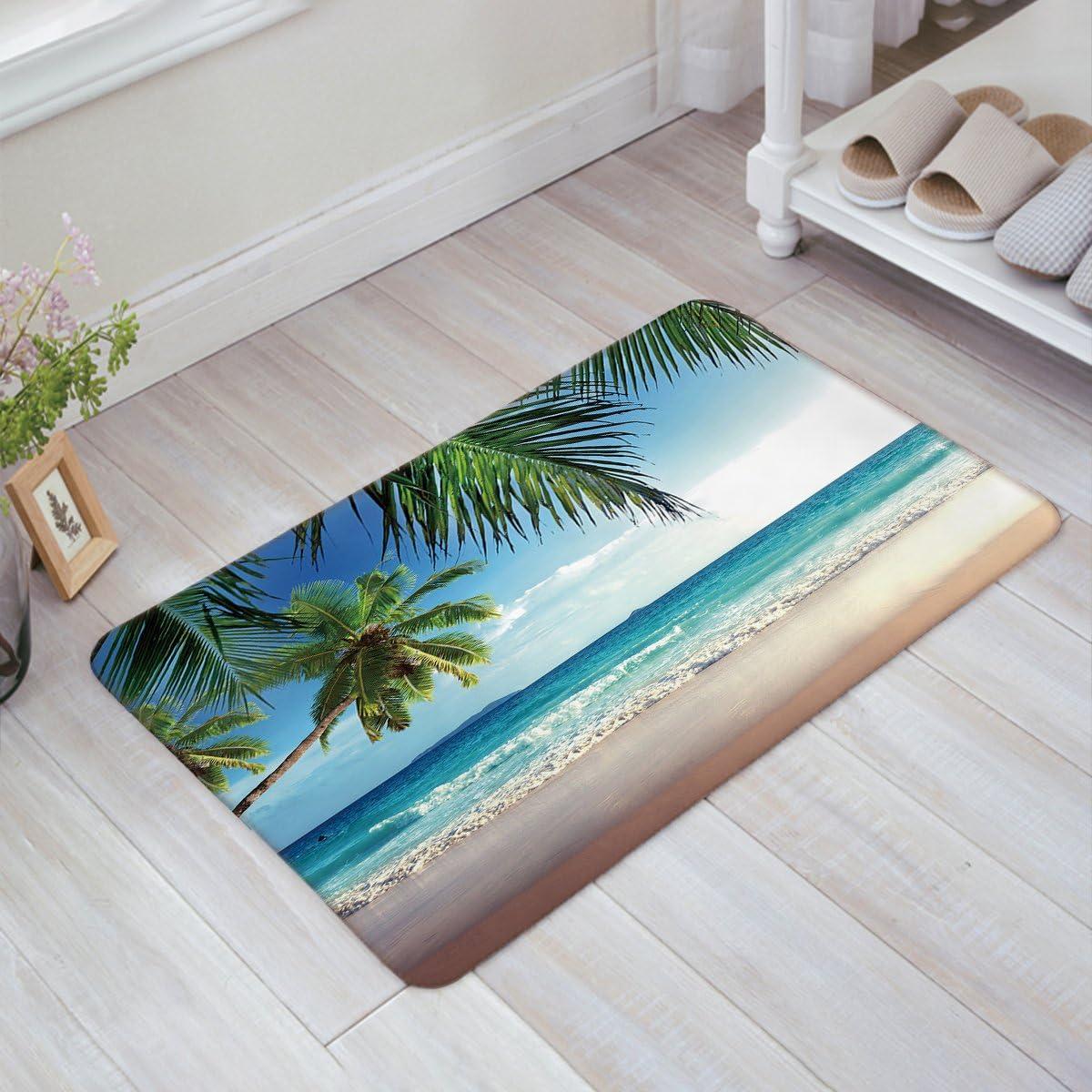Crystal Emotion Palms Ocean Tropical Beach Theme Non-Slip Indoor Outdoor Front Door Bathroom Mats 18x30inch