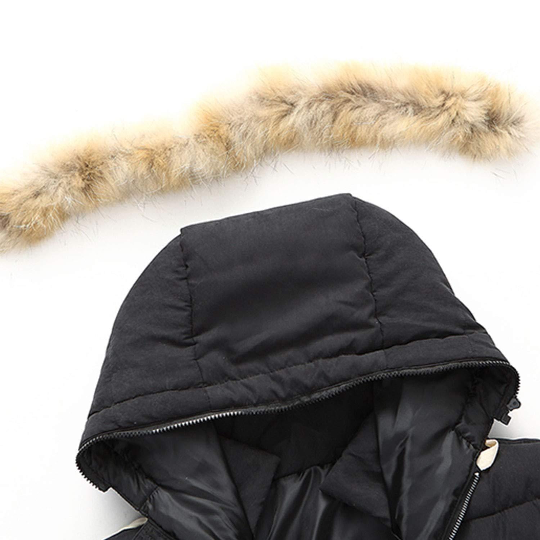 Faux Fur Lined Warm Padded Parka Casual Outwear Black/&Blue Henoo Mens Hooded Winter Coat
