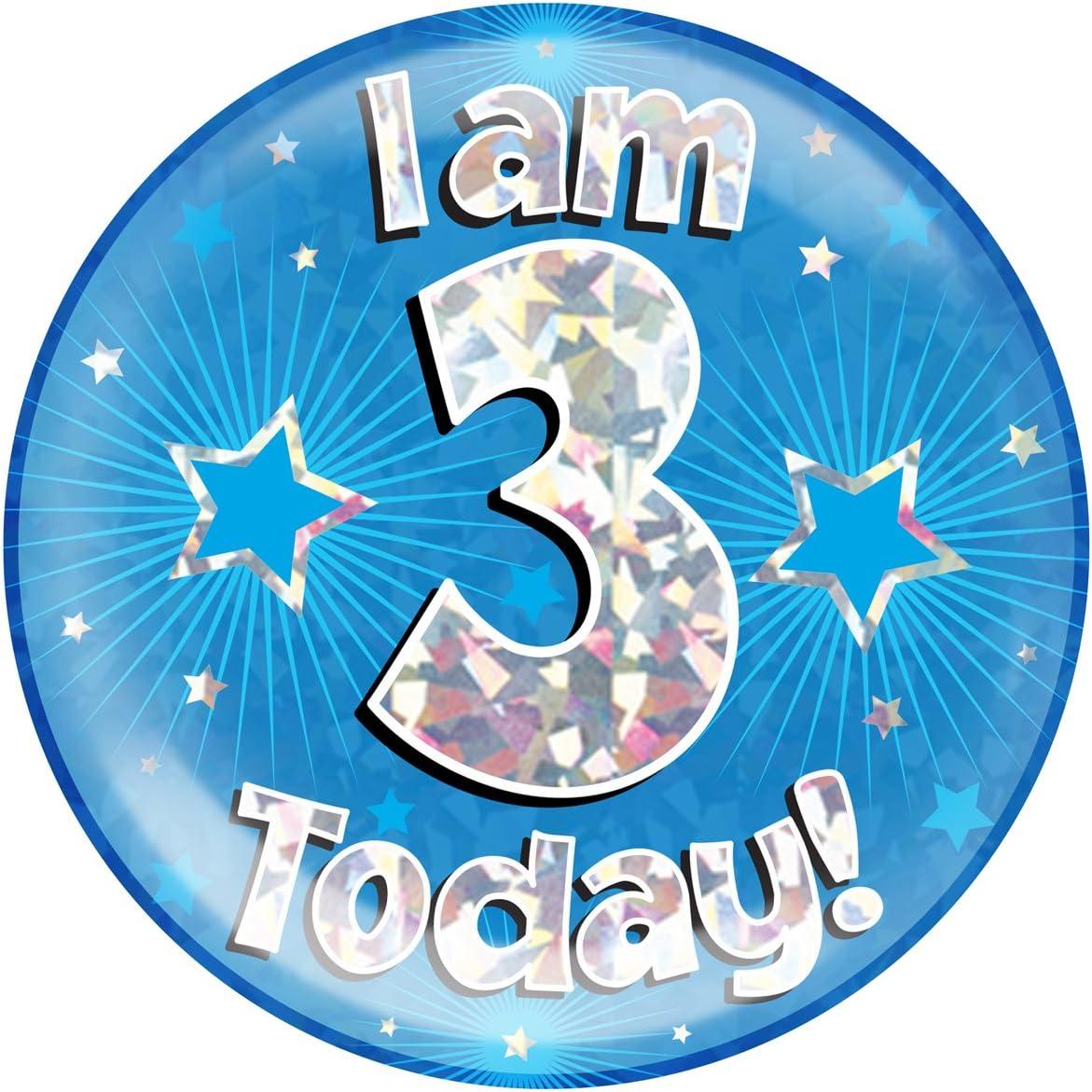 6 Jumbo Badge I am 3 Today Blue Holographic Cracked Ice