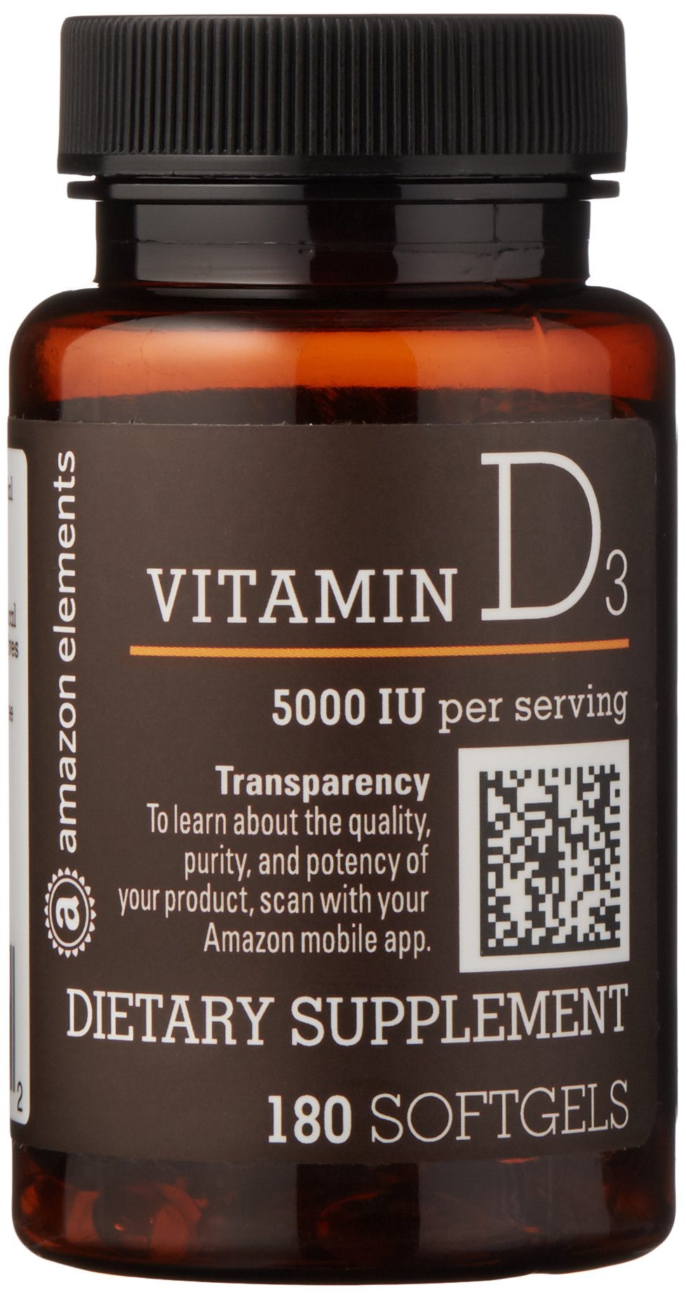 Amazon Elements Vitamin D3, 5000 IU, 180 Softgels, 6 month supply