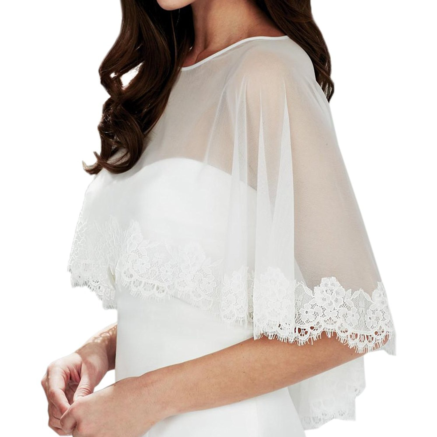AbaoWedding Embroidered Lace Tulle Shrug Shawl Wrap Bolero Wedding Jacket for Bride Size L Ivory