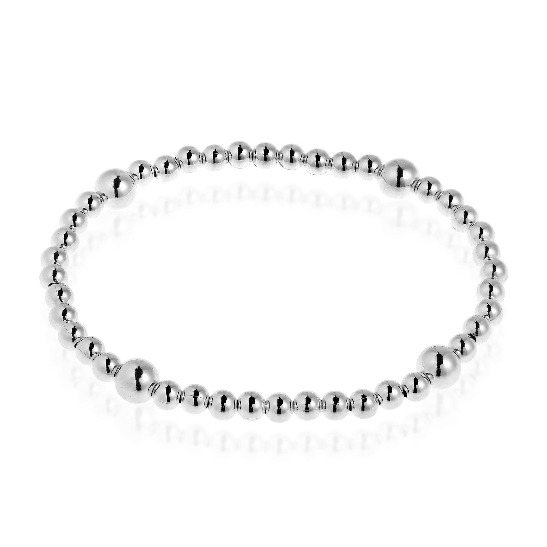 AeraVida Sleek Elastic Sterling Silver Beads Stretch Bracelet