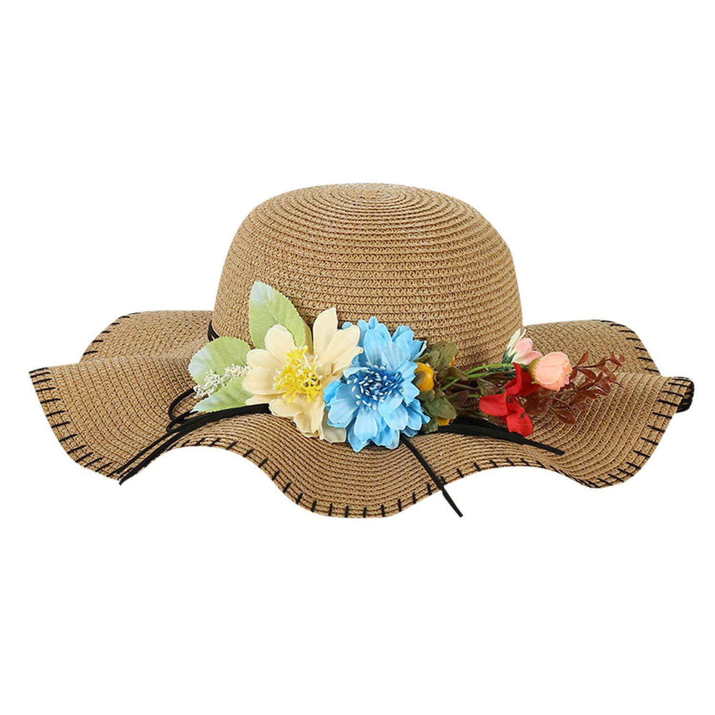 UCH-WLs Women Beach Straw Hat Sunshade Hat Gangster Cap Casual,D,China