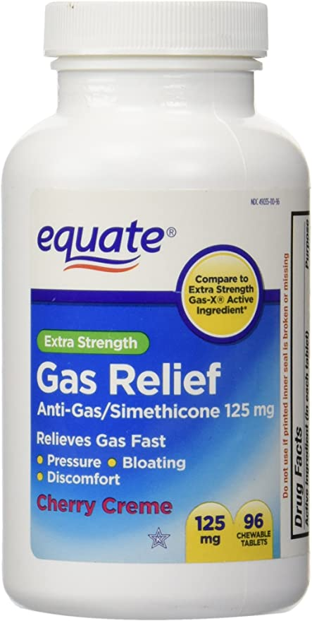 Extra Strength Gas Relief, Simethicone 125mg, 96 Chewable Tablets, Cherry Creme Flavor By Equate, Compare to Extra Strength Gas-X