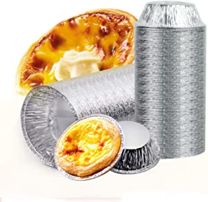 Aluminum Foil Tart Pan Egg Tart Pan Freezer & Oven Safe Disposable Aluminum Round Egg Tart Tin Foil Pans for Baking Supplies (50)
