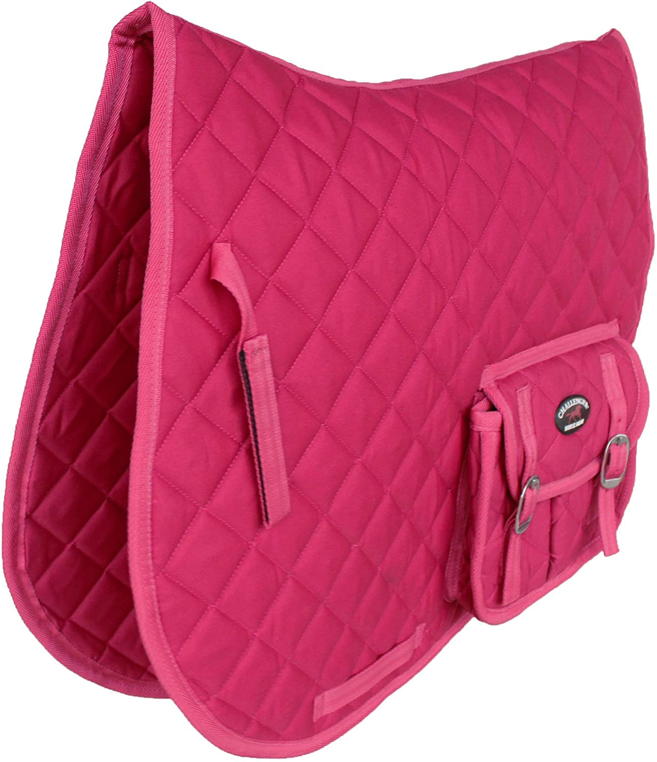 CHALLENGER Horse English Quilted All-Purpose Saddle Pad Hot Pink w//Pockets 72123