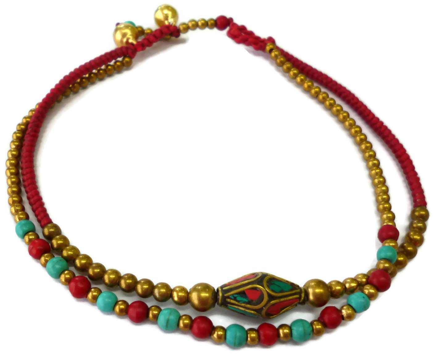 Moose546 Tibetan Charm and Bells Ankle Bracelets with Beads 11 Inches Cord Anklets for Women FC-056 (Red)