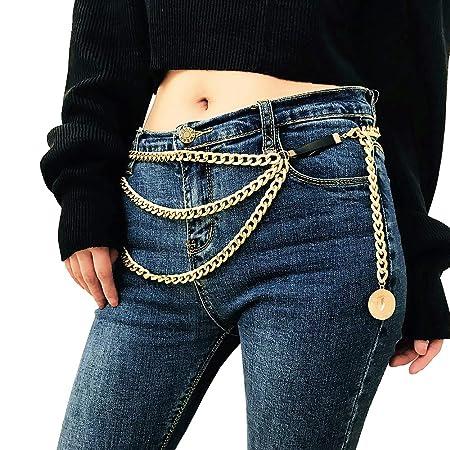 Juland Multilayer-Legierungs-Taille-Kette Körperkette für Frauen-Goldener Taillengürtel Anhänger Bauchkette Verstellbarer Kör