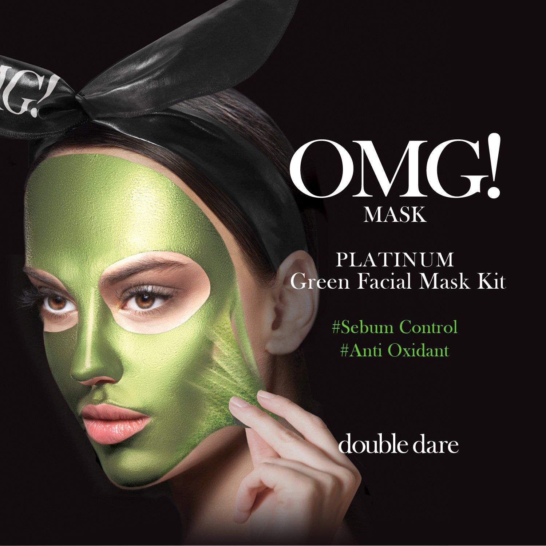 double dare OMG Platinum Peel Off Masks Set – Includes Platinum Green, Hot Pink, Purple, Silver Masks