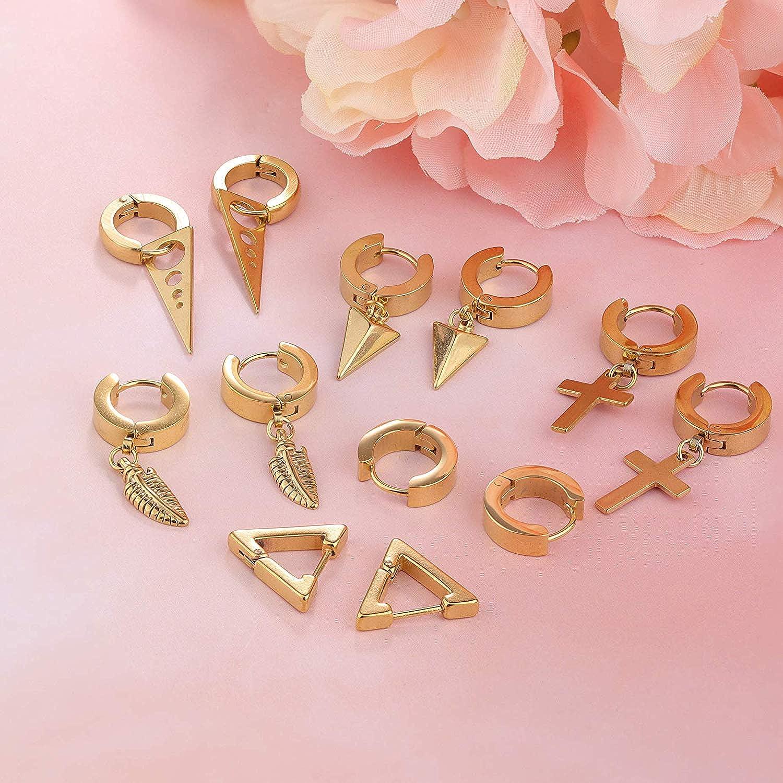 YADOCA 6 Pairs Stainless Steel Earrings for Men Women Cross Triangle Hinged Dangle Huggie Hoop Earrings Set