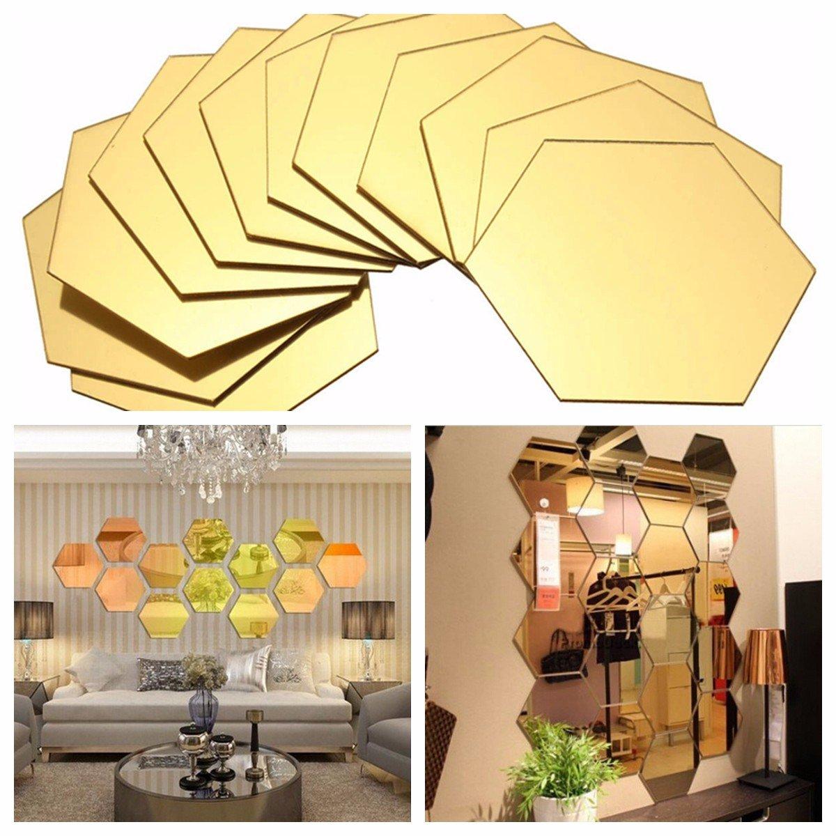RanDal 12Pcs 3D Miroir Hexagone Vinyle Amovible Wall Sticker Decal Home Decor Art Bricolage