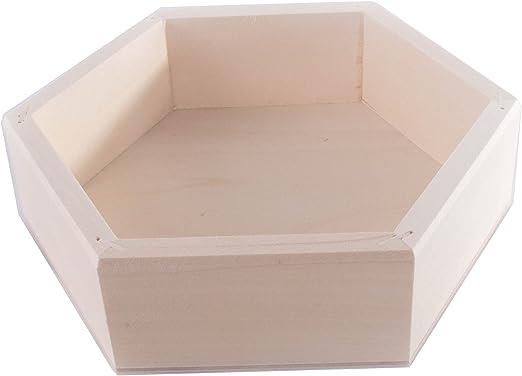 SEARCHBOX Caja de almacenaje Hexagonal de Madera para Nido de tamaño pequeño, sin Tapa, para Manualidades, 19 x 19 x 5 cm: Amazon.es: Hogar