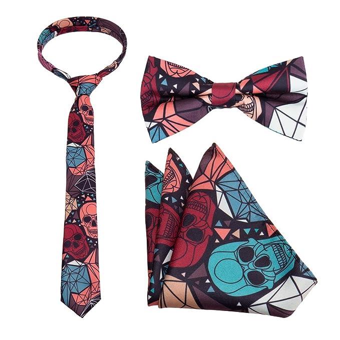 Bundle Monster – Juego de corbata, pajarita y pañuelo de bolsillo ...