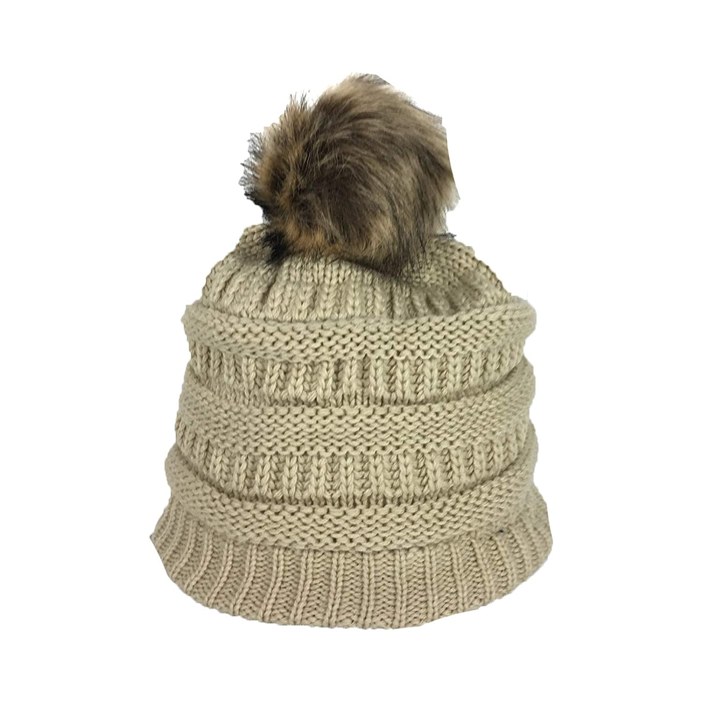 Fashion Culture Women s Knit Pom Pom Fleece Lined Beanie Hat 8f1d969a6ff5
