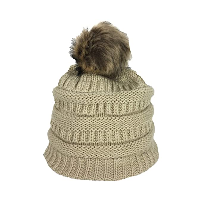 Image Unavailable. Image not available for. Color  Fashion Culture Women s Knit  Pom Pom Fleece Lined Beanie Hat ... 6577f622768a