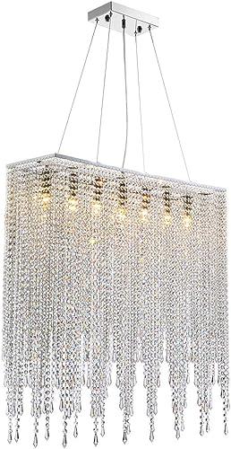 7PM Modern Crystal Chandelier Rectangle Beaded Lampshade Pendant Lighting Chrome Frame Light Fixture
