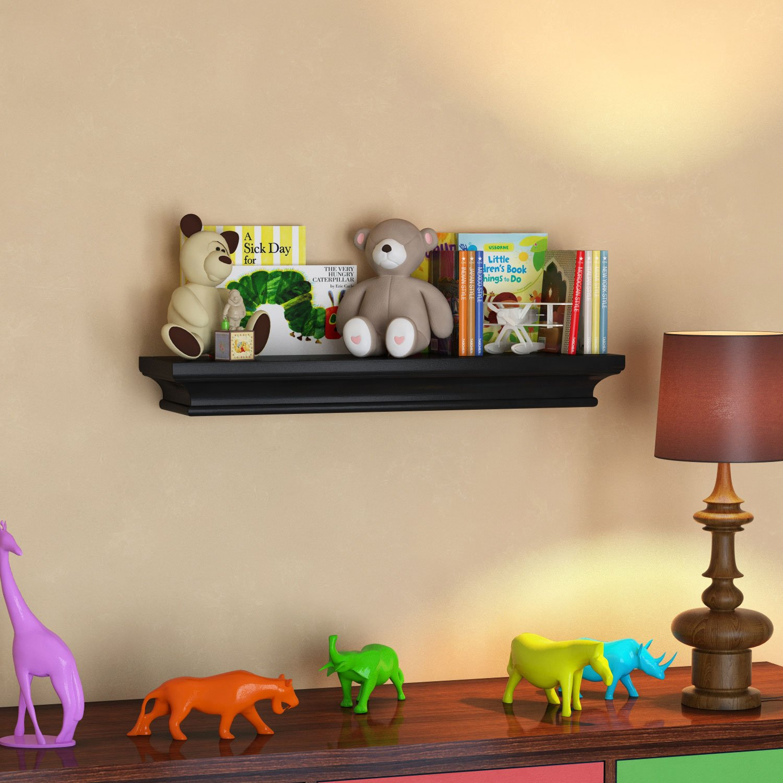 BGT Black Traditional Kids Room Wall Shelf 24 x 6 Inches Children's Stylish Floating Ledge Shelf by BGT