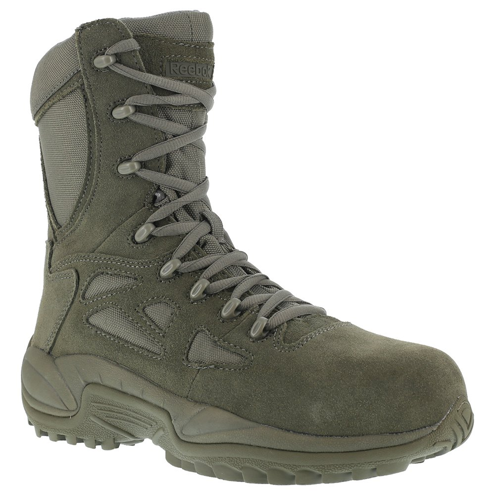 Reebok Womens Sage Green Suede Tactical Boots Rapid Response RB Comp Toe 7 M