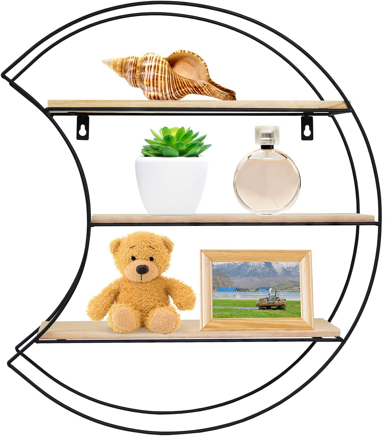 Greenco Geometric Moon Shaped Mounted Floating Shelf, Home Decor, Metal Wire and Rustic Wood Wall Storage Shelves for Bedroom, Living Room, Bathroom, Kitchen and Office, Natrual
