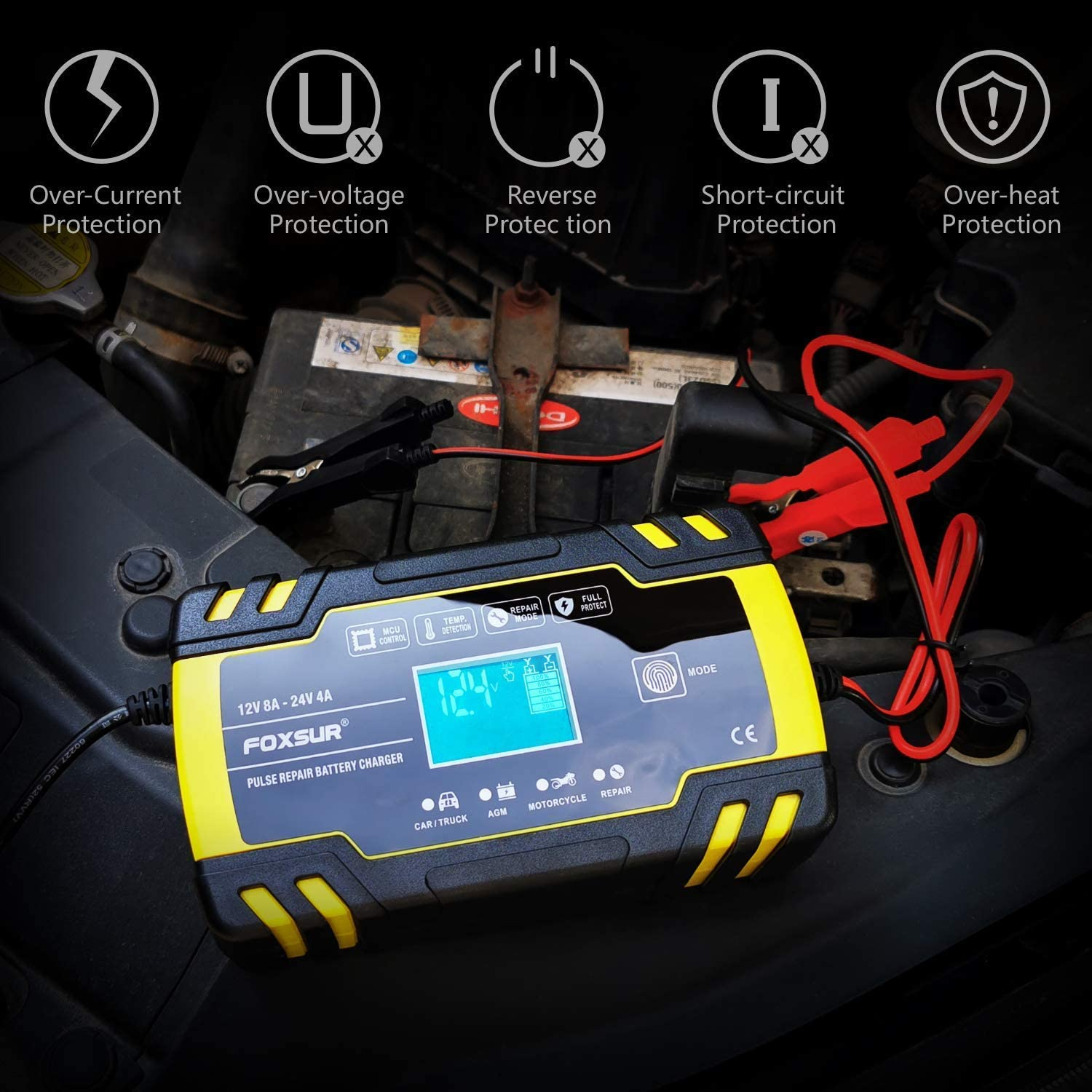 MRCARTOOL Car Battery Charger 12V//24V Fast Automatic Battery Charger Maintainer 3 Stage Fully Intelligent Charging with LCD Screen for Cars Motorcycles Boat
