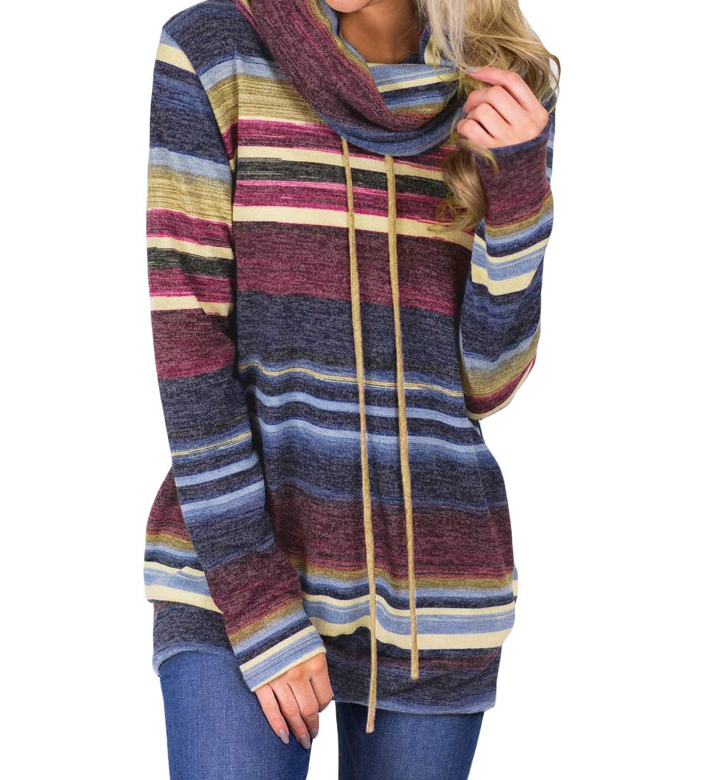 NStart Women's Cute Multicolor Striped Cowl Neck Full Sleeves Sweatshirts Hoodies with Pockets ((US 8-10) M, Blue)