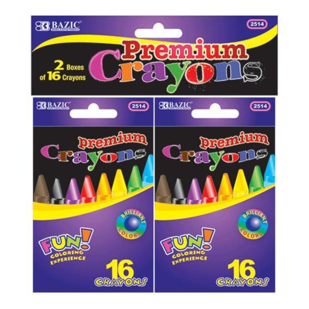 BAZIC 16 Premium Color Crayons 72 Packs of 2Pcs