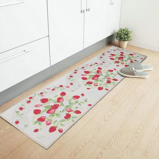Amazon Com Ihappy Strawberry Anti Slip Washable Long Floor Carpet Kitchen Mat Rug 17x69 Inches Kitchen Dining