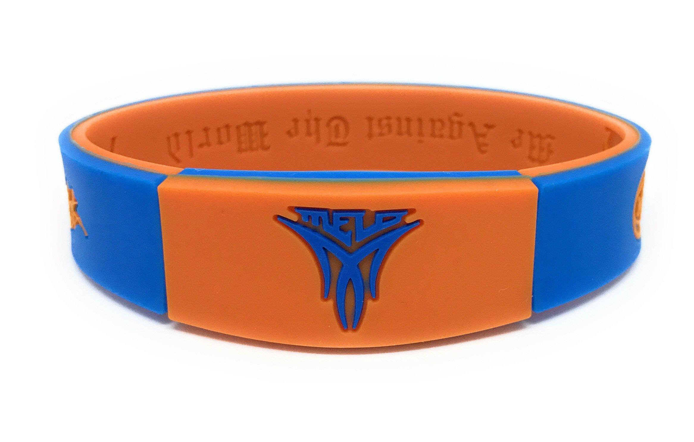 SportsBraceletsPro Reversible Wristband Adult/Teen 7.7'' Size Bracelets (Carmelo Orange/Blue)