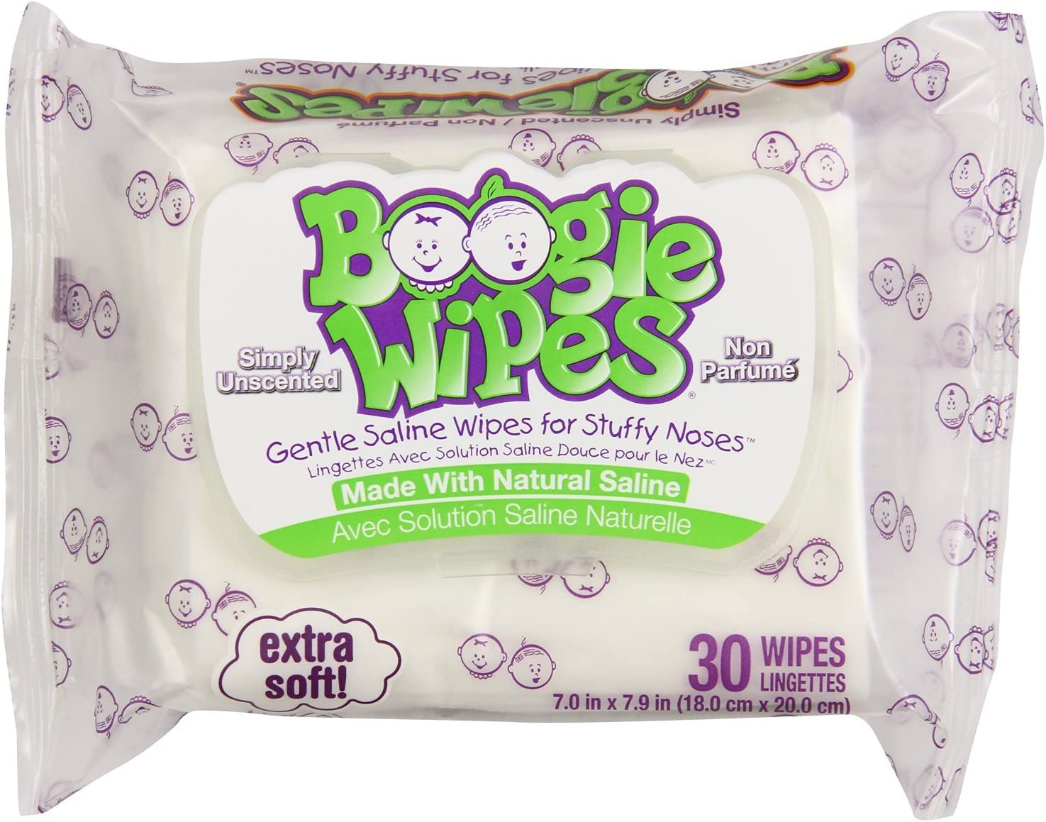 4 Pack Boogie Wipes Gentle Saline Unscented Wipes Extra Soft 30 Count Each