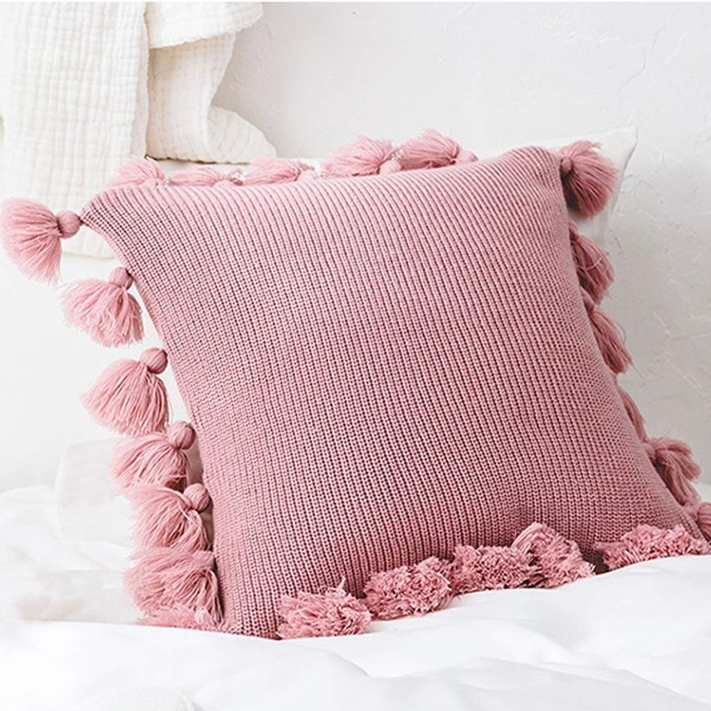 ZAQXSW Nordic ins Wind Cotton Knit Solid Color Fringed Side Pillow Princess Wind Cushion Set Sofa Wool net red Pillow (Color : Pink)